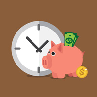 Single Piece Flow Saves Time - Image of piggy bank with money and clock