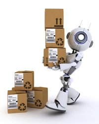 Disruption In Manufacturing: Robot carrying boxes