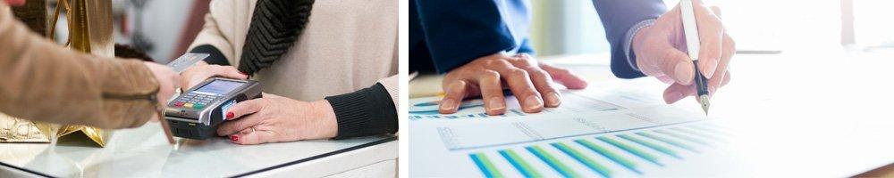 disruption - customer paying and businessman looking at graph