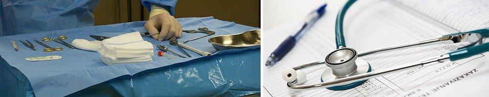 surgery tools, stethoscope