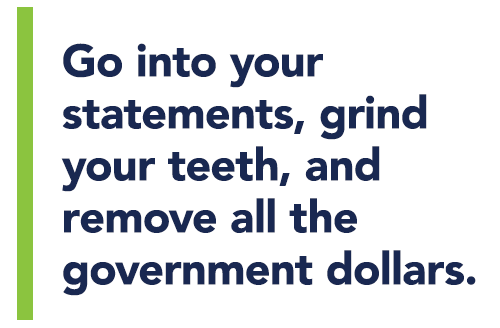 Go into your statements, grind your teeth, and remove all the government dollars.