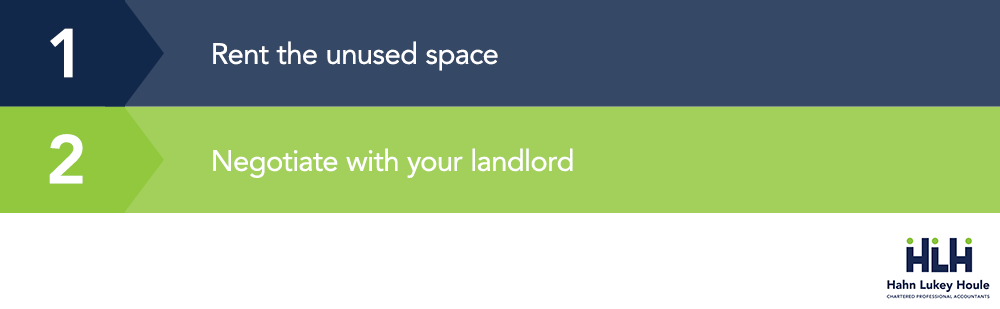 rent unused space or negotiate with your landlord